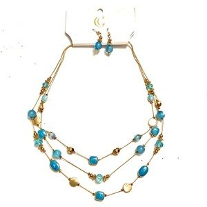 Blue Gold Necklace earrings Set NWT